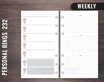 232 - Weekly - Personal Rings Insert, Foxy Fix Rings Inserts,Personal Rings Printable Insert, Filofax Personal, Personal Filofax Weekly