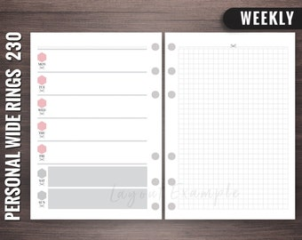 230 - Weekly - Personal Wide Rings Inserts, Foxy Fix Rings Inserts, Personal Wide Lists, Personal Wide Printable, Personal Wide