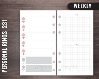 231 - Weekly - Personal Rings Insert, Foxy Fix Rings Inserts,Personal Rings Printable Insert, Filofax Personal, Personal Filofax Weekly