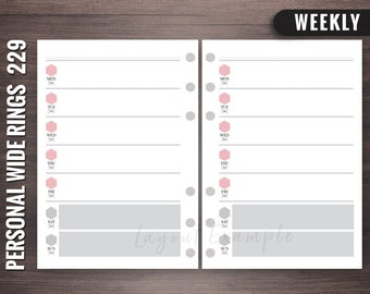 229 - Weekly - Personal Wide Rings Inserts, Foxy Fix Rings Inserts, Personal Wide Lists, Personal Wide Printable, Personal Wide
