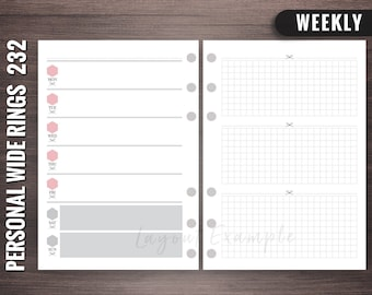 232 - Weekly - Personal Wide Rings Inserts, Foxy Fix Rings Inserts, Personal Wide Lists, Personal Wide Printable, Personal Wide