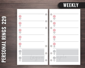 229 - Weekly - Personal Rings Insert, Foxy Fix Rings Inserts,Personal Rings Printable Insert, Filofax Personal, Personal Filofax Weekly