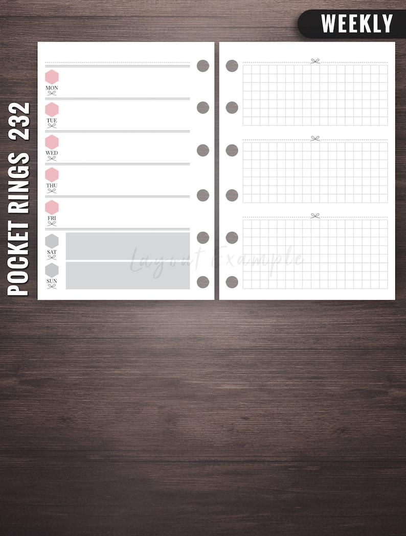 232  Weekly  Pocket Rings Inserts  Pocket Filofax Filofax image 0