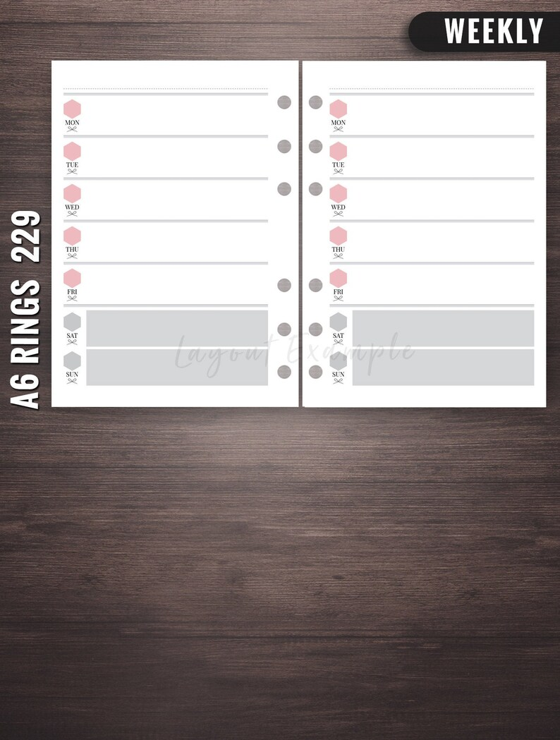 229  Weekly  A6 Rings Inserts A6 Rings Weekly Printable A6 image 0