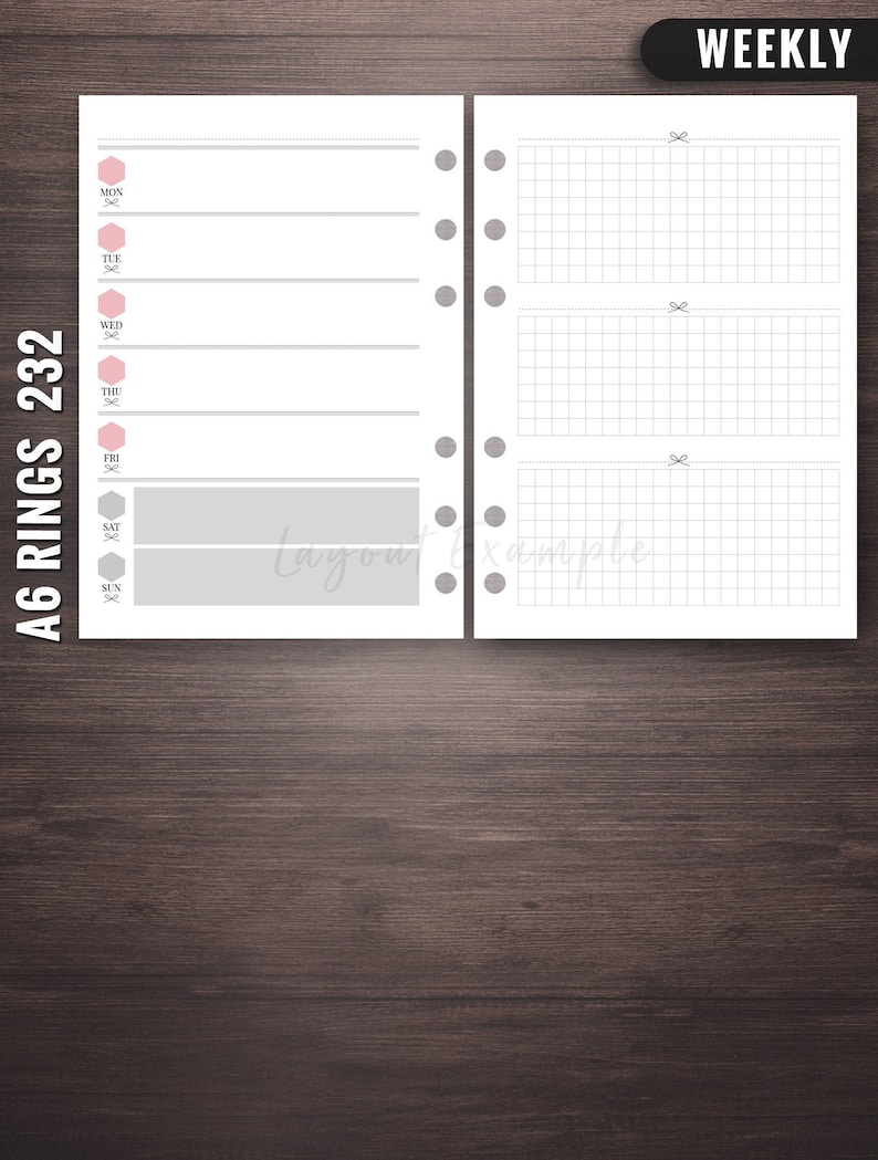 232  Weekly  A6 Rings Inserts A6 Rings Weekly Printable A6 image 0