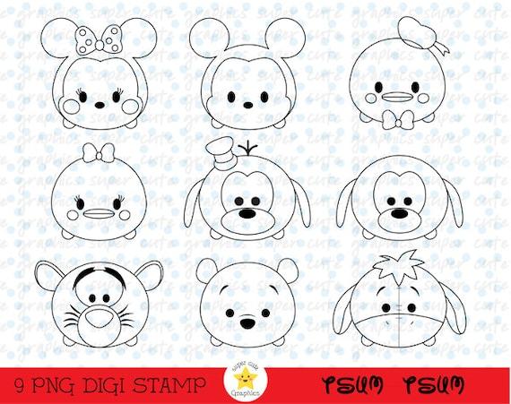 Tsum Tsum Digital Stamps Tsum Tsum Stamps Disney Tsum Tsum Etsy