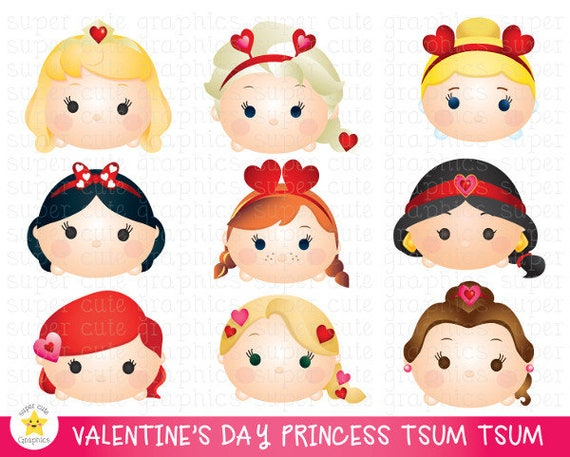Disney Tsum Tsum Clipart 9: Valentine's Day Clipart Tsum Tsum Clipart Princess Tsum