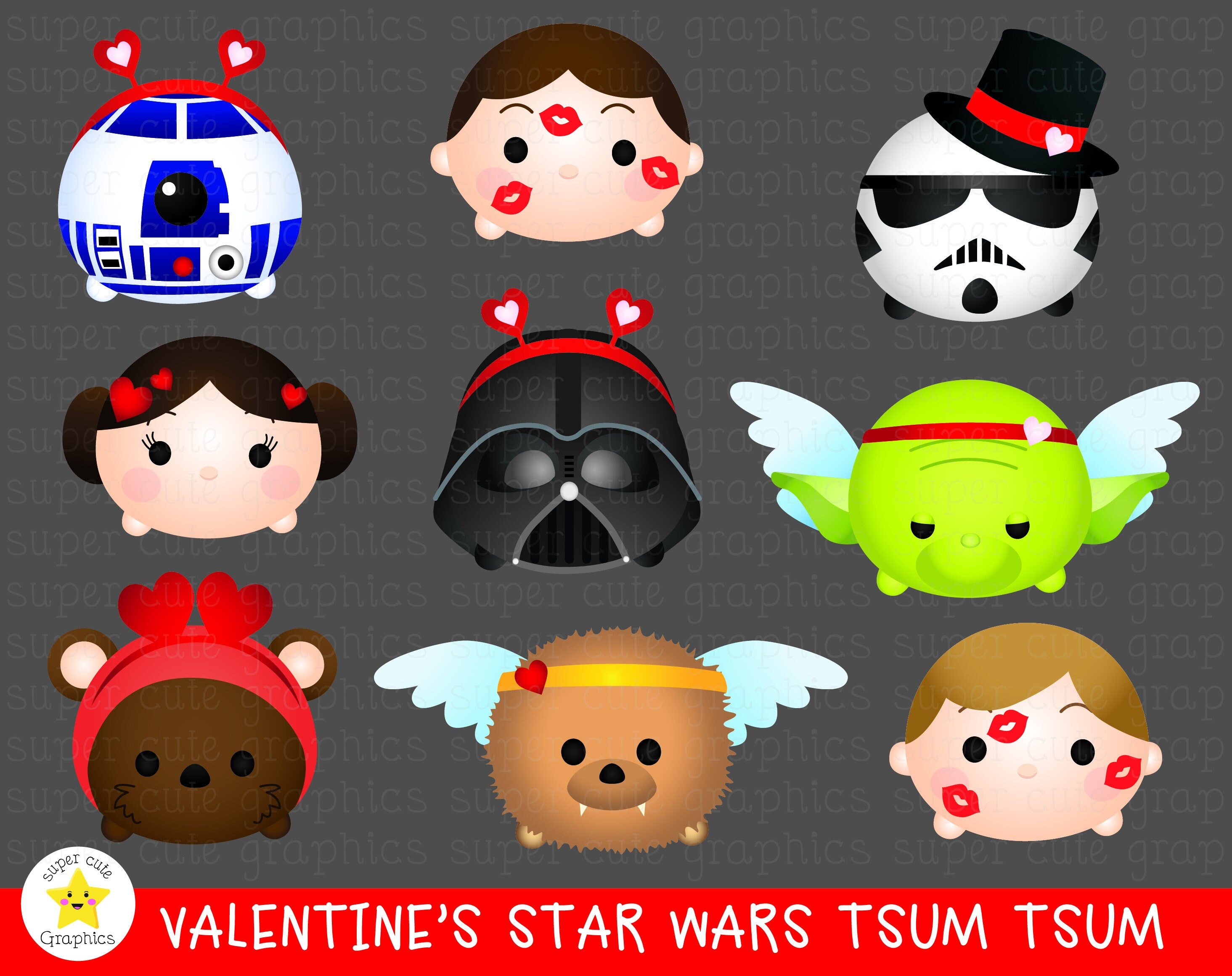 Star Wars Tsum tsum clipart, star wars CLIPART, valentine\'s tsum ...