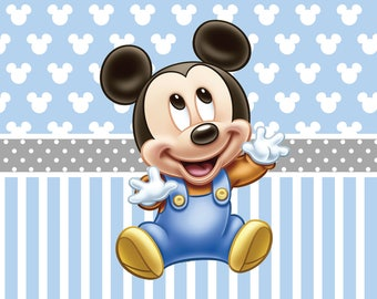 DIGITAL Baby Mickey Mouse Birthday Party Backdrop