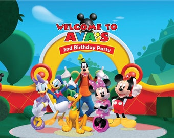 PRINTED Custom Mickey Mouse Birthday Party Backdrop   Mickey Mouse Birthday  Party Background   Mickey Mouse Clubhouse Party Decoration