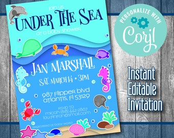 sea theme invitation etsy