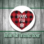 Buffalo Plaid, Christmas Stickers, Plaid Stickers, Heart Stickers, Shipping Stickers, Mailing Stickers, Envelope Seals, Thank You, Heart