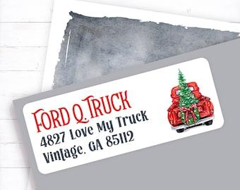 custom return, address label, personalized return, address stickers, personalized address, vintage christmas, vintage truck, truck christmas