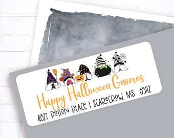 Halloween Gnomes Address Label, Gnome Address Label, Halloween Address Label, Halloween, Gnome, Cute Gnomes, Halloween Party Invite Labels
