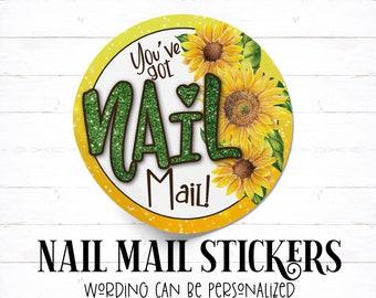 Sunflower Glitter Nail Mail Sticker, Sunflower Nail Mail, Fall Nail Mail, Youve Got Nail Mail, Round Nail Mail, Nail Mail Order Sticker