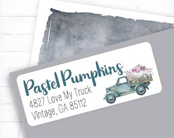 Teal vintage truck with pastel pumpkins address label, vintage fall truck, autumn truck, pumpkin truck, fall pumpkins, pastel pumpkin, truck