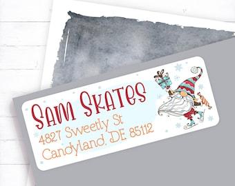 Christmas Gnome Address Label, Christmas Card Address, Christmas Invitation Label, Winter Gnome, Gnome Address, Christmas Address Label