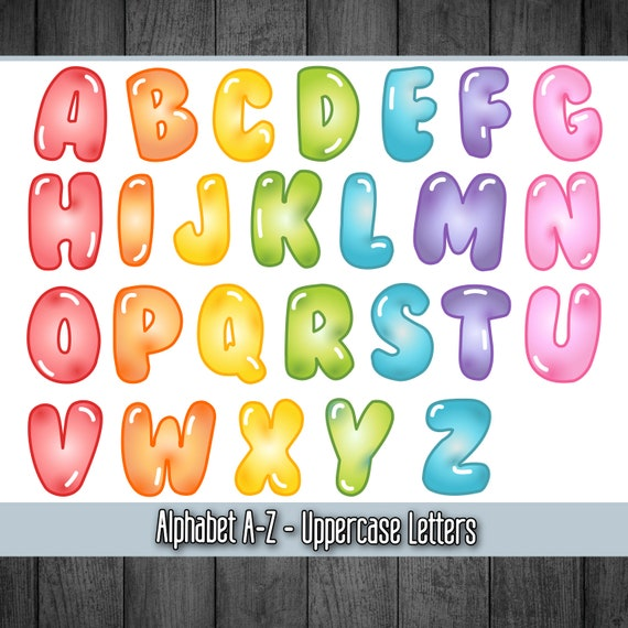 photo about Colorful Alphabet Letters Printable known as Printable Electronic Alphabet Letters, Bubble Letters, Mermaid Alphabet, Rainbow Alphabet, PDF Alphabet, PNG Alphabet, Cartoon Alphabet