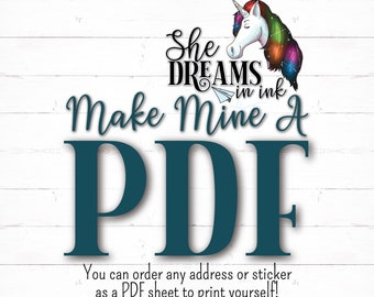 Make any label or sticker from my shop a PDF instead of buying printed sheets