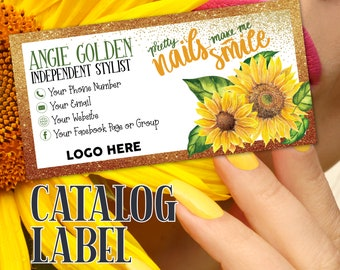 Nail Product Catalog Label With All Your Contact Info on it, Catalog Label, Folder Label, Package Label, Marketing Material