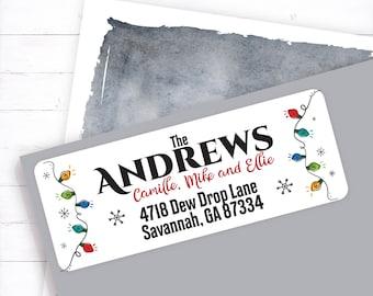 Christmas Lights Return Address, Christmas Address, Personalized Address, Return Address, Christmas Label, Address Labels, Custom Return