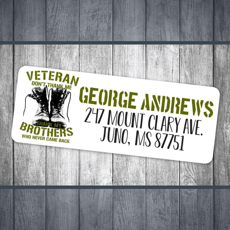 personalized address custom return address labels address stickers veteran personalized return army military printable PDF