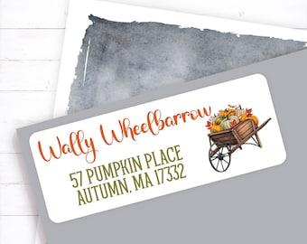 Fall wheelbarrow with sunflowers, fall address label, sunflower address label, sunflower wheelbarrow, brown wheelbarrow, fall wheelbarrow