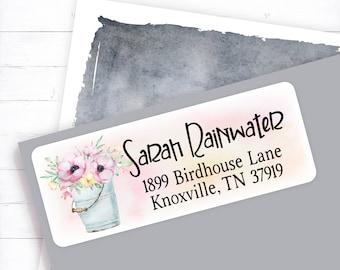 custom return, address labels, personalized return, address stickers, personalized address, spring, floral, wild rose, wildflowers, bucket