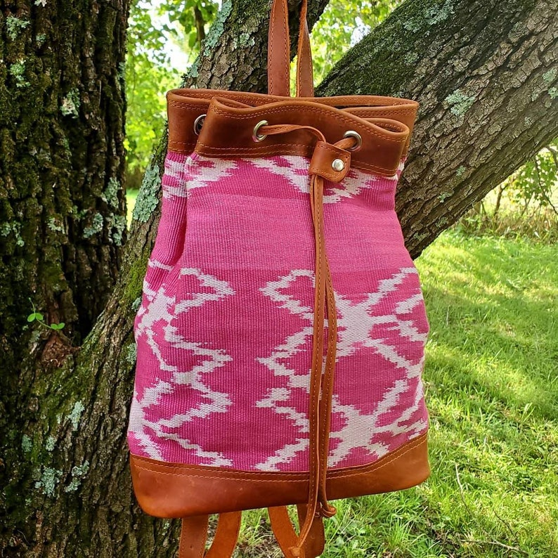 Cochineal Pink Floral ikat mini backpack