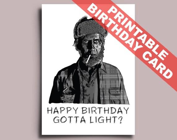 Twin Peaks Printable Birthday Card Editable PDF Woodsman