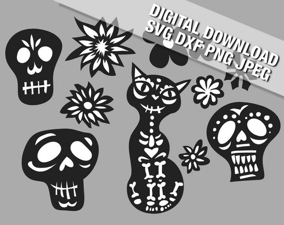 Papel Picado Style Elements Cutting File Silhouette Cricut Etsy