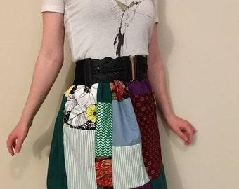 Drawstring patchwork skirt, boho patchwork skirt, hippie patchwork skirt, country patchwork skirt, hippie skirt, upcycled boho skirt