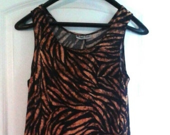 1489b9f966 Vintage 90s tiger print sundress, retro long dress, animal print maxi dress,  vintage 90s dress, 90s summer dress