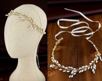 Wedding hair Headband White opal Hair Jewelry Bridal hair vine Wedding hair accessories Bridal hair piece Wedding hair Jewelry
