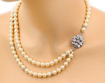 Wedding Necklace Double strands Swarovski Pearl Rhinestone Necklace Wedding Jewelry Bridal Necklace Statement Necklace Bridal Jewelry macy