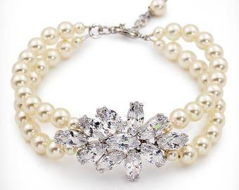 Wedding Bracelet Swarovski Pearl Zirconia Rhinestone Bracelet Bridal Bracelet Wedding Jewelry Wedding Accessory Bridesmaid Bracelet Ju