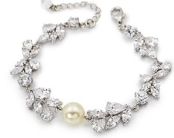 Wedding Bracelet Swarovski Pearl Zirconia Rhinestone Bracelet Bridal Bracelet Wedding Jewelry Wedding Accessory Bridesmaid Bracelet Adi