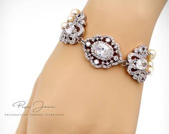 Wedding Bracelet Swarovski Pearl Zirconia Rhinestone Bracelet Bridal Bracelet Wedding Jewelry Wedding Accessory Bridesmaid Bracelet Perl