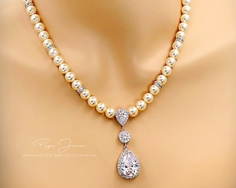 Wedding Necklace Swarovski Pearl Zirconia Teardrop pendant Necklace Wedding Jewelry Bridal Jewelry Bridal Necklace Statement Necklace