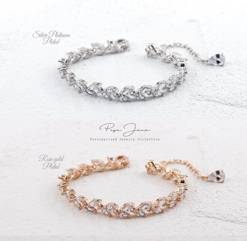 Wedding Bracelet Earrings set Zirconia Rhinestone Bracelet Earrings Wedding Jewelry Bridal Jewelry Bridesmaid Bracelet Bridesmaid Gifts Adi