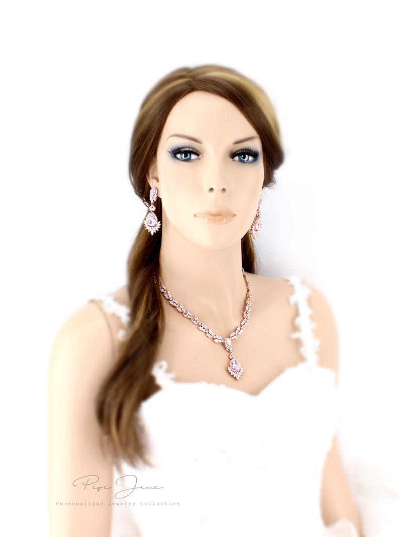 Wedding Necklace set Wedding Earrings Bridal earrings Zirconia Backdrop NecklaceWedding Jewelry Bridal Jewelry Bridal Necklace set Ece Fay