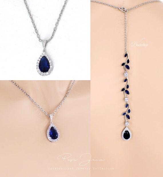 Wedding Necklace Navy Blue Backdrop necklace Zirconia Necklace Wedding Jewelry Bridal Jewelry Bridal Necklace Bridesmaid Necklace Gift Eva