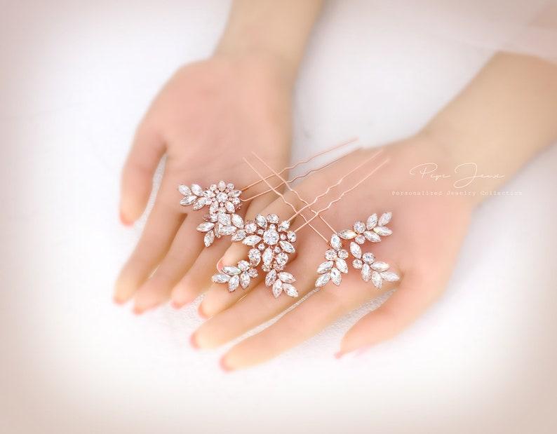 Bridal Hair Pins Crystal Leaves Wedding Rose gold Hair Accessory Bridal Hair comb Crystal Bridal hair pin Floral Comb Bridal Hair pin Daisy