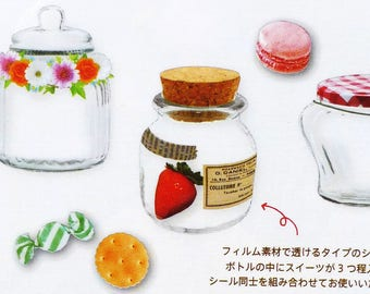 Food Jar Image Flake Stickers / Candy / Biscuit / Japan Amifa