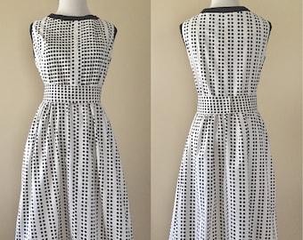 Vintage 60's Dress, Polka Dot Dress, Sleeveless Cotton, Kay Windsor, Black and White Summer Dress, L/XL