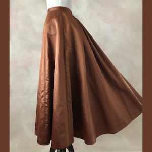 1890/'s Copper Silk Skirt Victorian Bustle Skirt XS Antique Victorian Skirt