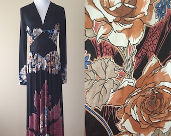 Vintage 70's Dress, Mac Tac of Paris for Leonard Sunshine Maxi Dress, 1970's Black Nylon Floral Dress