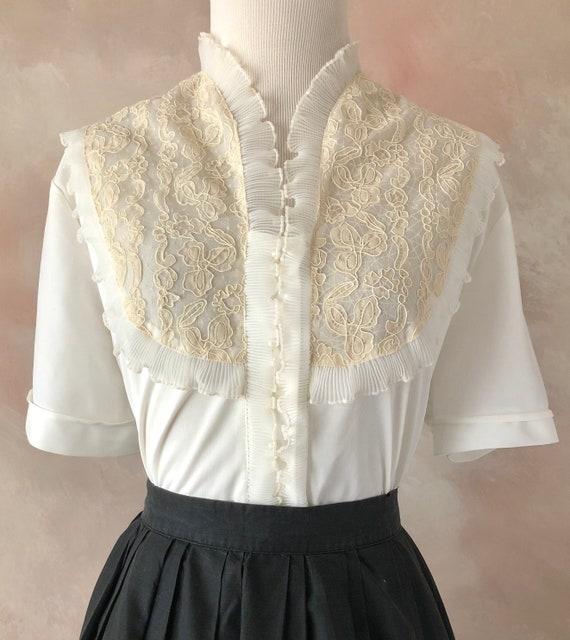 Vintage 50's blouse, 1950's White Nylon Blouse, La
