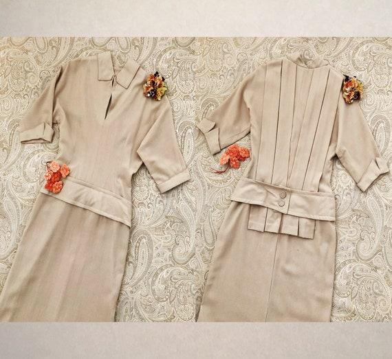 Vintage 40's Dress, 1940's Rayon Crepe Dress