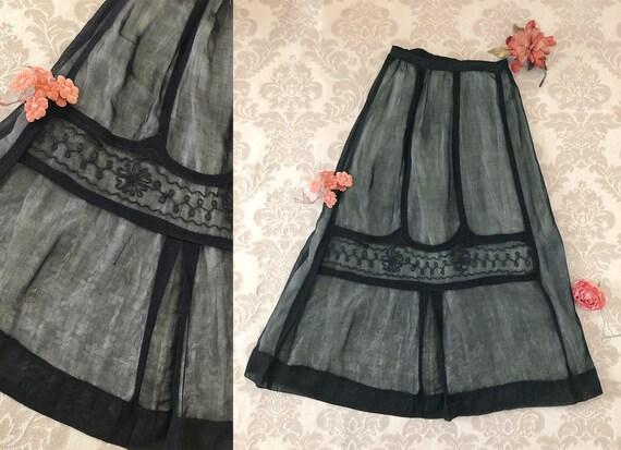 Antique Victorian Mesh Net Skirt, Soutache Trimmed